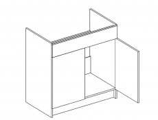 Light Cream Gloss Sink Base Unit Kitchen Cabinet Cupboard 80cm - Modern Luxe (Lux D80ZL ZASL Cream)