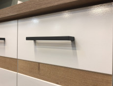 Modern Free Standing Kitchen Cabinet 400 Base Cupboard Unit 40cm Right Hand White Gloss/Oak - Junona (K24-D1D/40/82_P-BI/BIP/DCRZ-KPL01)