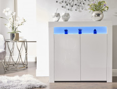 Square Small White High Gloss Sideboard Modern 2 Door Cabinet Blue LED Light Unit - Lily