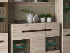 Glass Sideboard Dresser Display Cabinet Oak finish - Elpasso (S314-KOM2W1D3S-DSAJ/DWB-KPL02)