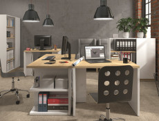 Modern Large Study Home Office Desk 160 cm White Gloss/Oak Finish - Denton (S416-BIU/160-BIP/DP-KPL01)