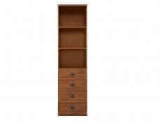 Modern Tall Slim 50cm Bookcase 2 Shelf Cabinet Shelving Unit with 4 Drawers in Dark Oak Effect - Indiana (S31-JREG4so/50-DSU-KPL01)