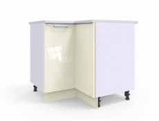 Free Standing White/Cream Gloss Kitchen Cabinet Corner Base Unit - Modern Luxe