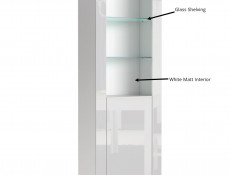 Tall White High Gloss Bookcase Modern 1 Door Display Cabinet Unit with Glass Shelving - Lily