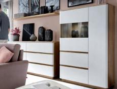 Wide Glass Display Cabinet 2 Doors 2 Drawers Oak and White Finish - Braga