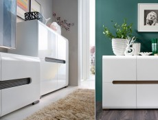 Square Small Contemporary Sideboard Dresser Cabinet White High Gloss or Oak - Azteca
