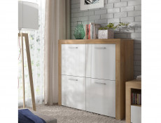 Modern Living Room Sideboard 4-Door Cabinet Storage Unit Oak/White Gloss - Balder