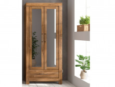 Modern Hallway Furniture Set: Tall Mirrored Unit, Shoe Bench Seat, Cabinet, Mirror and Wall Coat Hanger Hooks Oak finish - Gent (M244-GENT-HALL-SET1)