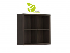 Modern 4 Cube Storage Unit Wall Mounted Shelf Cabinet Display for Hallway Bedroom Wenge Dark Wood Effect Finish - Nepo