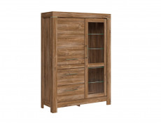 Modern 3 Pc Living Room Furniture Set: Shelf, TV Unit Glass Display Cabinet with LEDs Medium Oak Effect - Gent (S228-GENT_LIVING _ROOM_SET_3-DAST)