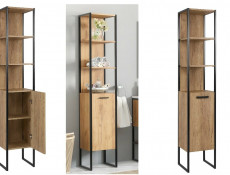 Modern Industrial Loft Bathroom Furniture Set Tall Cabinet Shelving & 60cm Sink Unit Oak Black Metal Frame - Brooklyn (BROOKLYN800+BROOKLYN820+8003-60)