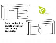 Modern Shoe Cabinet Small Lowboard 90 cm 1 Door Storage Unit Oak Effect and White Gloss - Balder