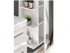 Modern Tall Bathroom Mirror Cabinet Shelving Storage Unit White Matt/White Gloss - Twist (TWIST_802_WHITE)