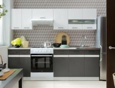 Modern Tall Larder Kitchen Cabinet Pantry 500 Cupboard Unit 50cm Left Grey / White Gloss - Junona (K24-D2D/50/195_L-BI/BIP/SZW-KPL01)