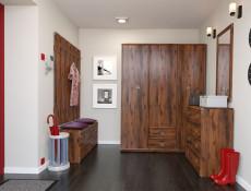 Cottage Style 1 Drop Down Door Shoe Storage Cabinet Hallway Entrance Hall in Dark Oak Effect Finish - Indiana