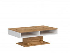 Modern White & Oak Rectangular Coffee Table with Storage Compartment Shelf - Alamo