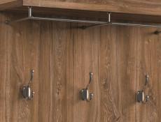 Modern Wall Mounted Entrance Hall Hallway Coat Hanger with 5 Hooks and Storage Shelf Medium Oak Effect - Gent (M244-PAN/16/10-DAST-KPL01)