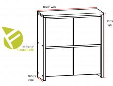 Modern Compact Sideboard Square 4 Door Cabinet Dark Wood Wenge - Kaspian (S128-KOM4D-WE/WE-KPL01)