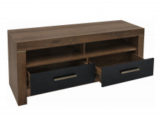 TV Cabinet Stand Unit with Drawers Black Oak Modern Living Room - Balin
