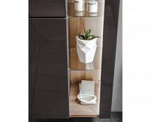 Modern Grey Gloss Wall Hung Bathroom Tall Cabinet Storage Unit with LED Light Glass Shelves - Bahama