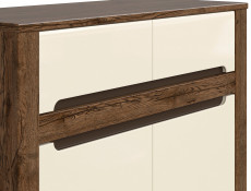Large Sideboard Display Cabinet 3 Doors 3 Drawers in Cream Gloss and Dark Oak Finish - Ruso