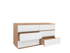 Large Chest of 6 Drawers Sideboard in Oak / White - Braga