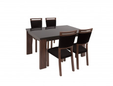 Extendable Dining Table with black glass top - Alhambra