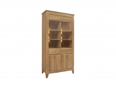 Traditional Large Tall Glass Fronted Display Cabinet in Oak finish with LED Light - Bergen (REG2W2D)