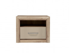 Bedside Cabinet Side Table with Drawer in Beige Gloss and Oak finish - Koen 2