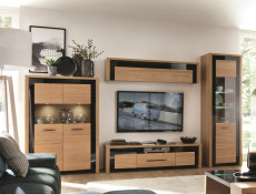 Modern Wall Shelf Cabinet Storage Unit in Oak Wood Veneer Black Gloss Finish - Arosa