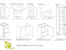 White High Gloss Kitchen Cabinets Cupboards 8 Unit Set including Tall Larder Complete 300cm - Rosi