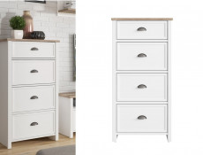 Tall Narrow Chest of 4 Drawers Tallboy Country Style Cup Handles White/Oak Finish - Cannet