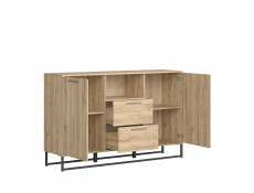 Industrial Large Sideboard Dresser Cabinet Unit with Drawers 150cm Oak - Gamla