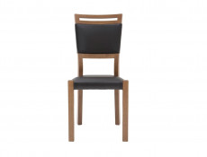Modern Dining Chair Solid Wood Frame Eco Leather Seat Black/Oak - Gent