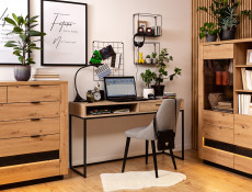 Industrial Dressing Table Console with Drawer Metal Legs Light Oak Effect Finish - Gamla