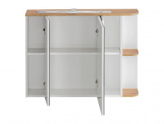 White Gloss & Oak Finish Bathroom Furniture Set: LED Mirror Unit, Tall Cabinet Wall Vanity with Countertop Sink - Platinum