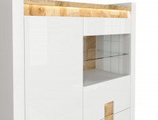 Modern White Gloss Living Room Furniture Set Display Cabinet Sideboard Wall Shelf LED Lights Oak finish - Alameda
