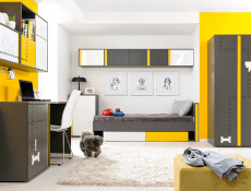 Two Door Wardrobe Grey Modern Bedroom Furniture - Graphic