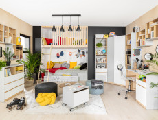 Modern 2-Door Wardrobe Drawer Kids Bedroom Storage Unit Emoji Comic Insert White Gloss/Grey/Oak - Nandu