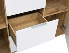 Modern Large Sideboard Dresser Cabinet Unit with Drawers White Gloss/Oak 135cm - Zele
