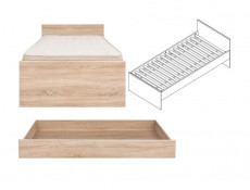 Single Bed Frame & Storage Drawer in Sonoma Oak - Academica (LOZ/90+Szuflada)