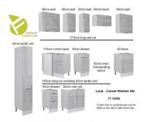Light Dove Grey Gloss Kitchen Units Corner Set of 11 Cabinets with Slim Larder Cupboard  - Luna