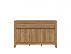Traditional Light Oak Large Sideboard Cabinet Chest of 3 Drawers Living Room Dresser Unit - Bergen
