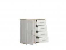 Small Scandinavian Light Wood Effect Sideboard Cabinet 1 Door 4 Drawers - Romance
