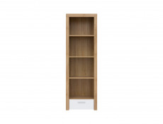 Tall Bookcase Shelf Cabinet Storage Unit With Drawer White Gloss & Oak finish - Balder