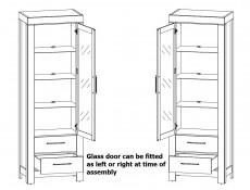 Modern Tall Glass Door Display Cabinet Storage Unit with 2 Drawers and LED Lights Medium Oak Effect - Gent (S228-REG1W2S/20/7-DAST-KPL01)