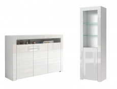 Modern White High Gloss Furniture Set: Wide Sideboard Unit & Bookcase Display Cabinet with Glass Shelving - Lily