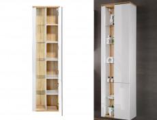 Modern White Gloss Wall Hung Bathroom Tall Cabinet Storage Unit with LED Light Glass Shelves - Bahama