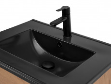 Loft Style Oak Bathroom 80cm Vanity Cabinet Unit Black Metal Industrial Frame Ceramic Sink - Brooklyn (BROOKLYN_821+UM-8003-80-LAVA_BLACK)