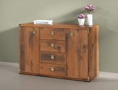 Modern Oak Effect Finish Office Furniture 6 Item Set: Desk, Sideboard and 4 Bookcases - Indiana (INDIANA OFF SET)